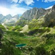 Amazing view of mountain lakes in Albanian Alps, national park Theth, Albania