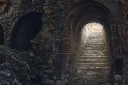 Photo for Mystic view of old stony stairs in the medieval castle - Royalty Free Image