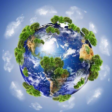 Photo pour Terre avec les différents éléments sur sa surface. - image libre de droit