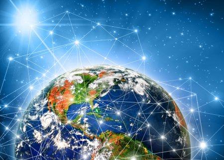 Photo pour Meilleur concept d'internet d'affaires global de concepts série. planète terre. meilleur concept d'affaires global de concepts série.(les éléments de cette image fournie par la nasa) - image libre de droit