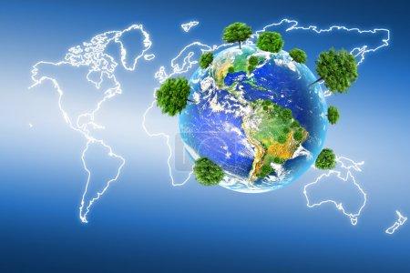Photo pour Terre avec les différents éléments à sa surface. Concept environnemental. Meilleur concept Internet d'entreprise mondiale de la série concepts - image libre de droit