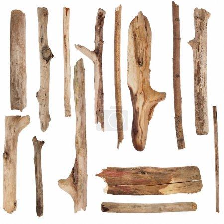 Photo pour Les branches sèches de macro et vieux panneau en bois, isolé sur fond blanc (haute résolution) - image libre de droit