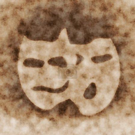 Photo pour Antécédents de masque de théâtre sépia - image libre de droit