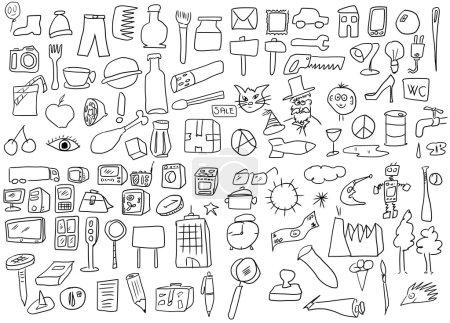 Photo pour Croquis simplifié des objets de dessin, série doodle - image libre de droit