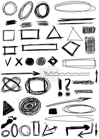 Photo for Doodle, Set hand drawn shapes, circle, square, triangle - Royalty Free Image