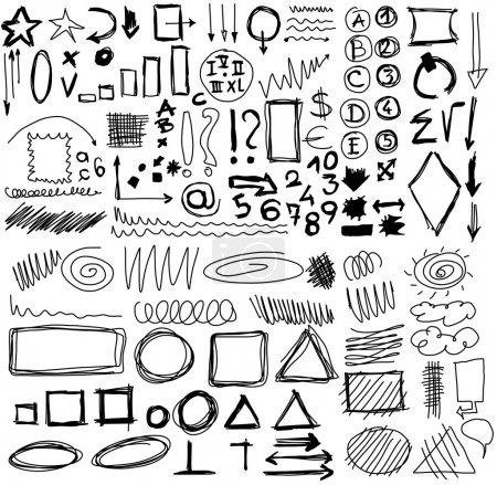 Photo pour Doodle, définir des formes dessinées à la main, cercle, carré, triangle, nombres, ligne - image libre de droit
