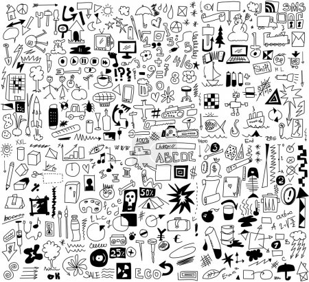 Simplified design elements doodle icons, hand drawn background