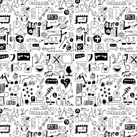 Photo for Big set simplified design elements doodle icons, hand drawn background, texture and pattern (set 2) - Royalty Free Image