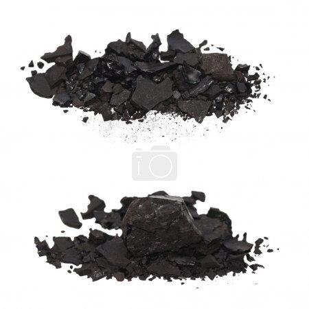 Set pile black coal isolated on white background