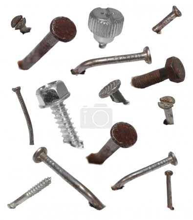 Set old metal nail and screw head isolated on white, design elements