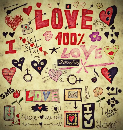 Photo for Love doodle retro set, design elements, paper texture background - Royalty Free Image