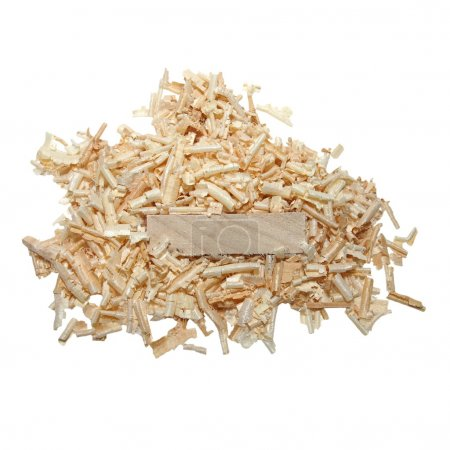 Pile wood shavings and board isolated on white, with clipping path