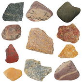 Collection rocks isolated on white background