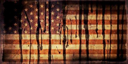 Photo pour Old Grunge USA Drapeau teinté à l'huile - image libre de droit
