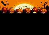 Many glowing halloween pumpkins tree grave stone and many flying bats on abstract background with big moon