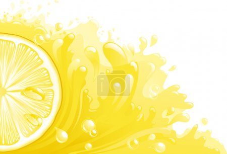 Illustration for Half of circle of lemon on background with lemon juice. Horizontal format - Royalty Free Image