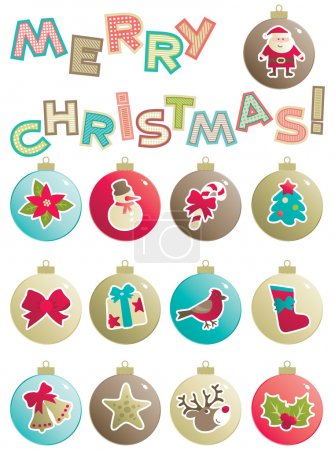 """Illustration for Vector set of baubles with christmas decorations and word """"Merry christmas!"""" isolated on white background. - Royalty Free Image"""