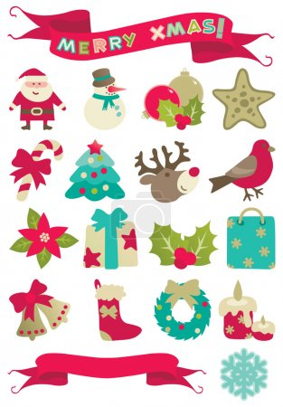 "Illustration for Set of vector icons of many christmas decorations and banners with ""Merry christmas!"" isolated on white background. - Royalty Free Image"