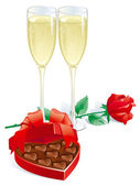 Vector of two Champagne Flutes Red rose and heart shaped box of chocolates candy isolated on white background