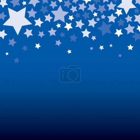 Illustration for White stars decorative with blue background, Vector - Royalty Free Image