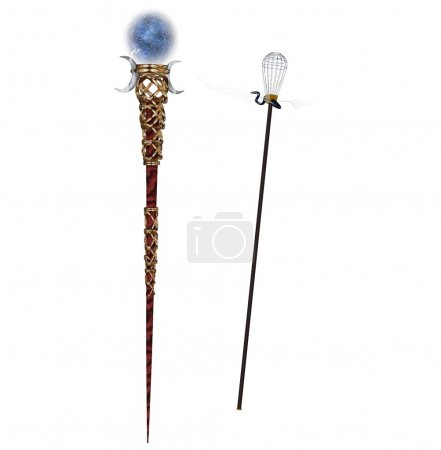 3d rendered magic staff with marble orb
