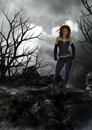 Female fantasy warrior with gloomy background...