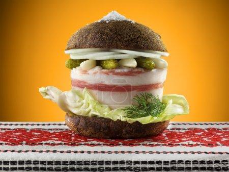 Ukrainian burger with lard