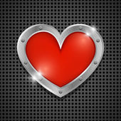 Shiny red heart bubbles in aluminum edging on metal background