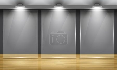 Illustration for Exhibition hall with wooden floor and the three glass frame in middle of the room, illuminated by searchlights. - Royalty Free Image