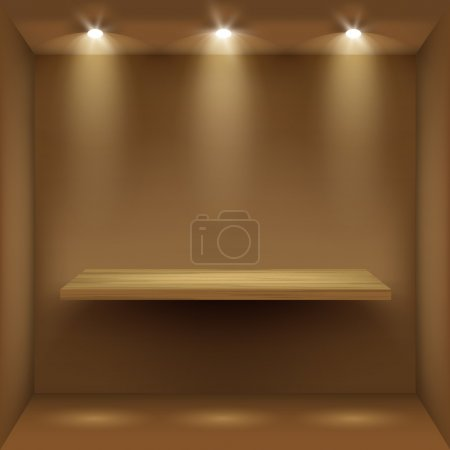 Empty wooden shelf in room, illuminated by searchlights
