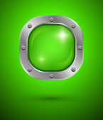 Shiny glass bubble speech in aluminum edging on green background