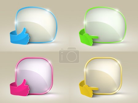 Illustration for Isolated empty bubble speech and glass hand set. - Royalty Free Image