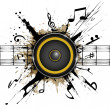 Abstract background. Sound speaker on ink stains. ...