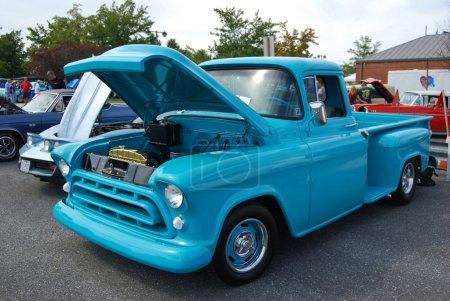 Blue Vintage Ford Truck Front