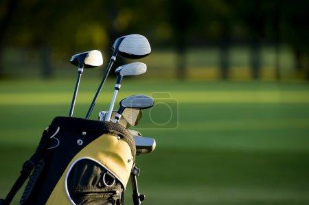 Photo pour Une mise en place de nouveaux clubs de golf sur un beau parcours de golf - image libre de droit