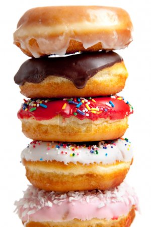Photo for Assorted donuts on a white background - Royalty Free Image