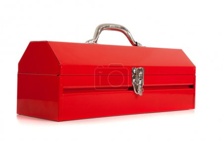 Photo for A handyman's red metal toolbox, closed, on a white background - Royalty Free Image