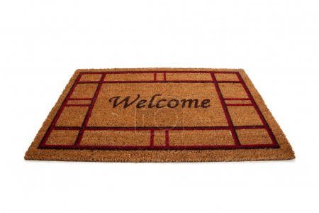 Welcome doormat or carpet on white