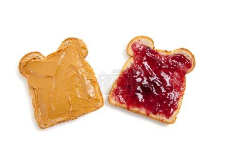 Photo pour Ouvrir face au beurre d'arachides et sandwich de gelée - image libre de droit