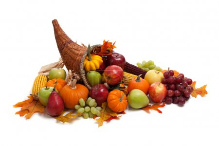 Photo for A Fall arrangement in a cornucopia on a white background - Royalty Free Image