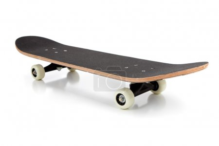 Black skate board on a white background