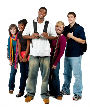 Photo for A group of happy multi-racial college students holding backpacks on a white background - Royalty Free Image