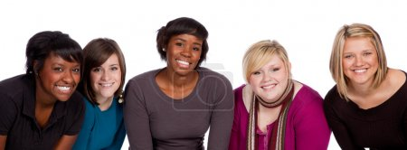 Photo for A group of happy multi-racial college students on a white background - Royalty Free Image