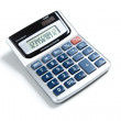 A pocket calculator on a white background...
