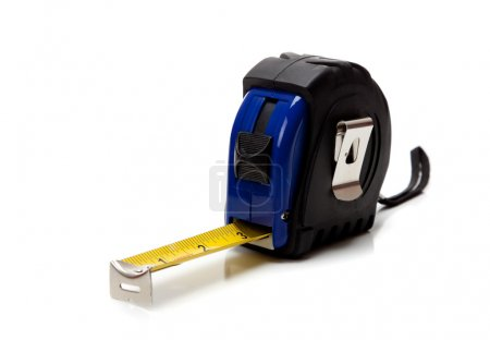 Blue tape measure on a white background