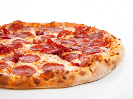 Photo for A Pepperoni pizza on a white background - Royalty Free Image