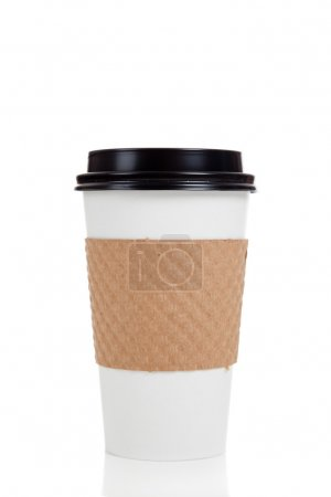 Photo for A row of paper coffee cups on a white background - Royalty Free Image