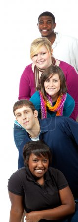 Multi-racial college students on a white background