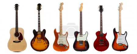 Photo for A group of six assorted guitars on a white background - Royalty Free Image
