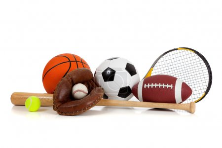 Photo for Assorted sports equipment including a basketball, soccer ball, tennis ball, baseball, bat, tennis racket, football and baseball glove on a white background - Royalty Free Image